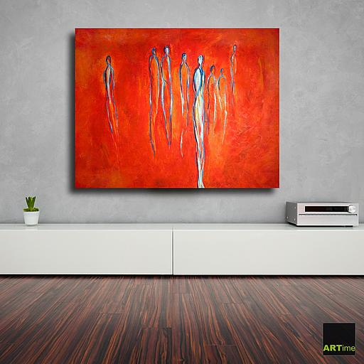 "Artime Galerie Frankfurt - ""In a World of Red"" abstrakte-Kunst-Malerei-in-Acrylfarben"